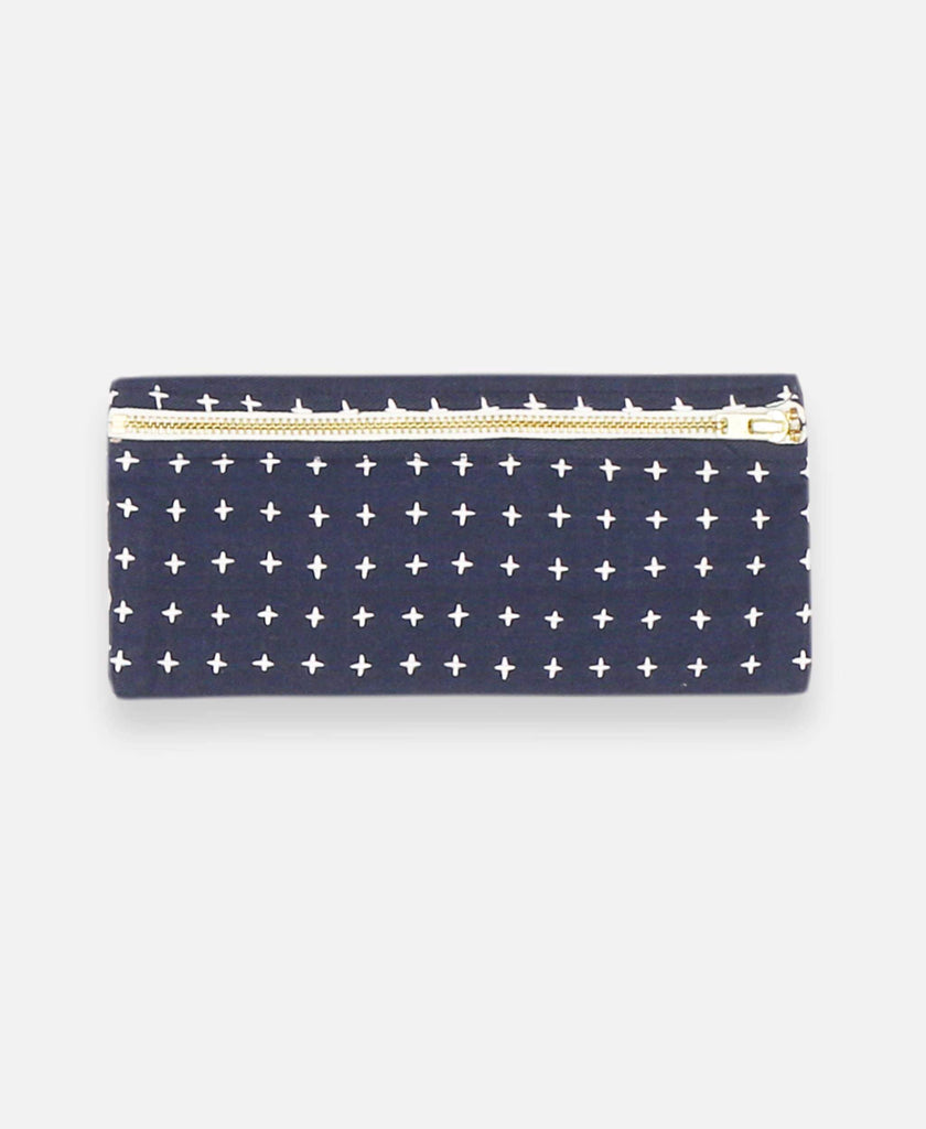 Anchal Project organic cotton pencil case with cross-stitch embroidery in navy blue