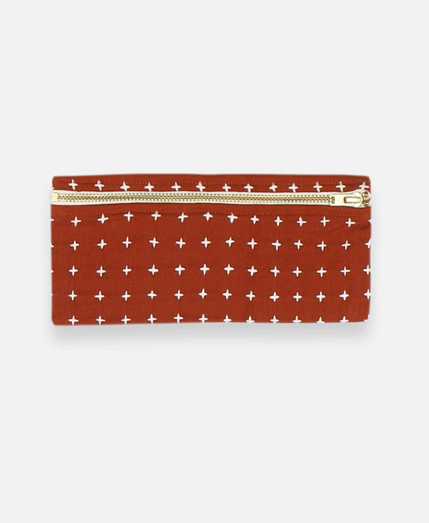 Anchal Project organic cotton pencil case with cross-stitch embroidery in rust orange