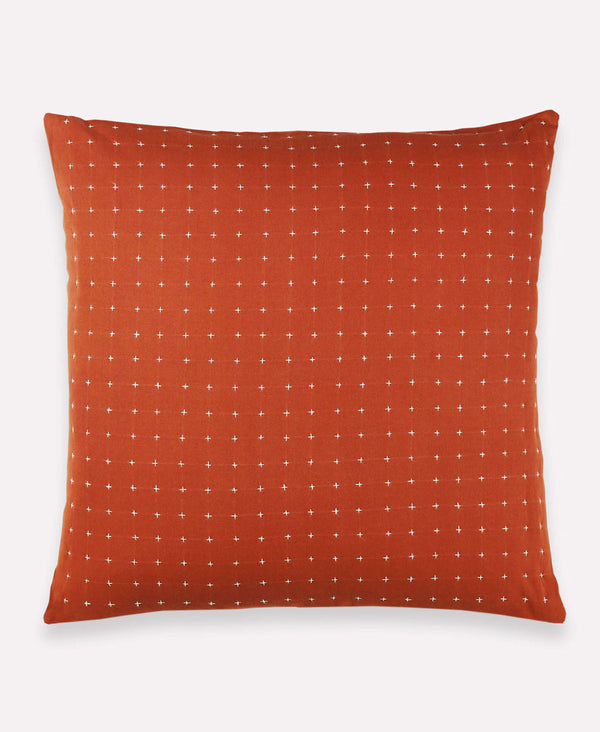 Anchal Project rust cross-stitch throw pillow