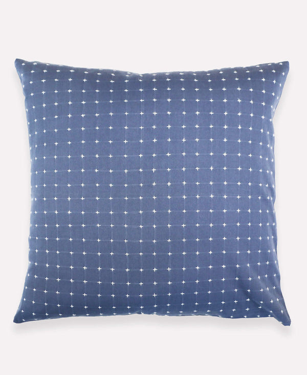 Anchal Project slate blue cross-stitch embroidered throw pillow