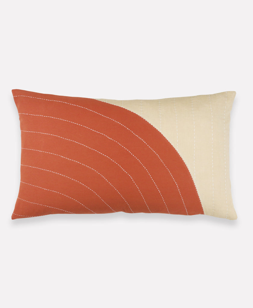 Anchal Project rust and beige curve lumbar pillow