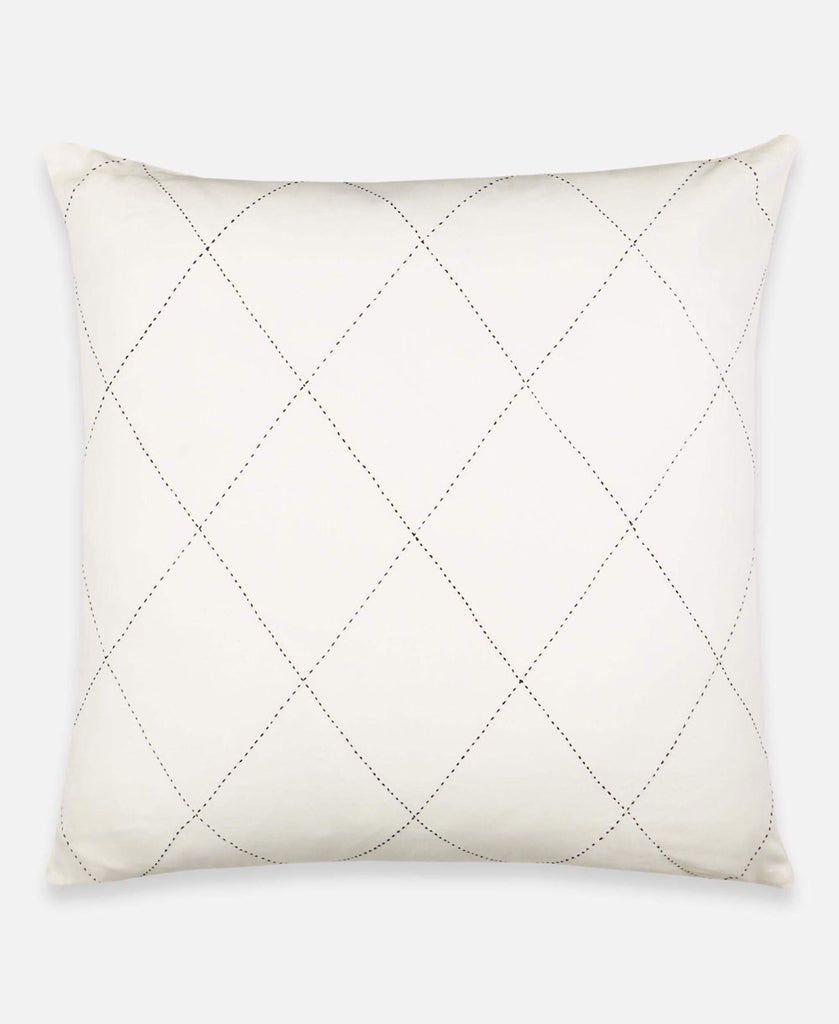 Anchal Project organic cotton euro sham with hand-stitched diamond pattern