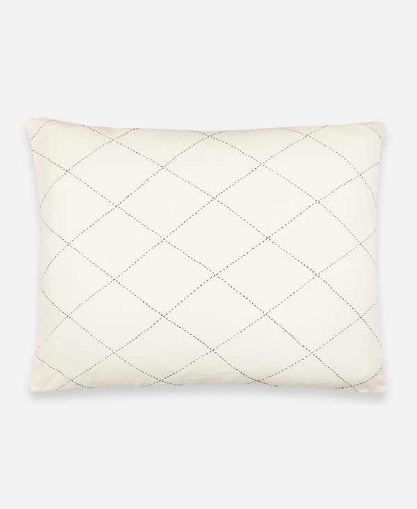 Anchal Project organic cotton pillow sham with hand-embroidered diamond-stitch pattern