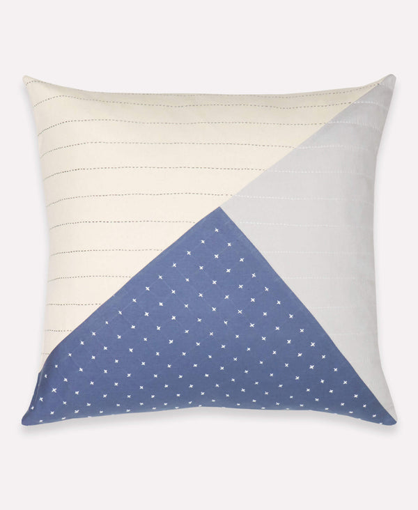 Anchal Project didi throw pillow with congtrasting stitch patterns on soft organic cotton