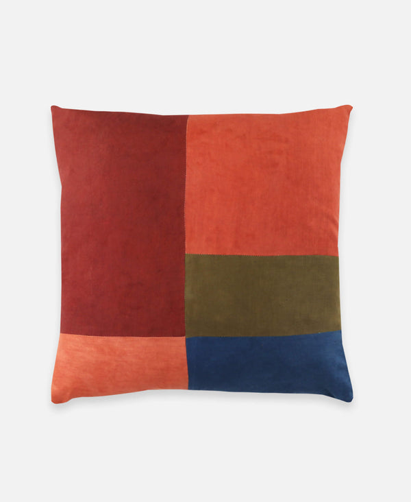 Anchal Project naturally dyed accent pillow in colorblock sunset pattern