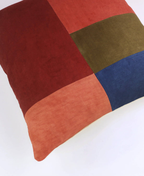naturally dyed linen accent throw pillow in red, blue and green