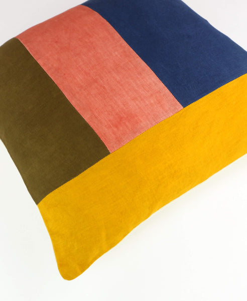 Naturally Dyed Color Block Accent Pillow | Madder Marigold Indigo | Anchal Project