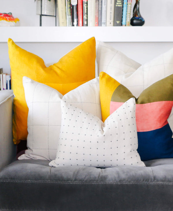 colorful modern naturally dyed pillows in contemporary home