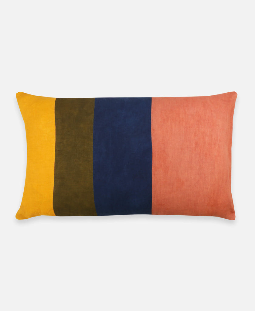 Anchal Project naturally dyed colorblock lumbar pillow using plant dyes