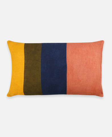 Naturally Dyed Color Block Lumbar Pillow | Madder Marigold Indigo | Anchal Project
