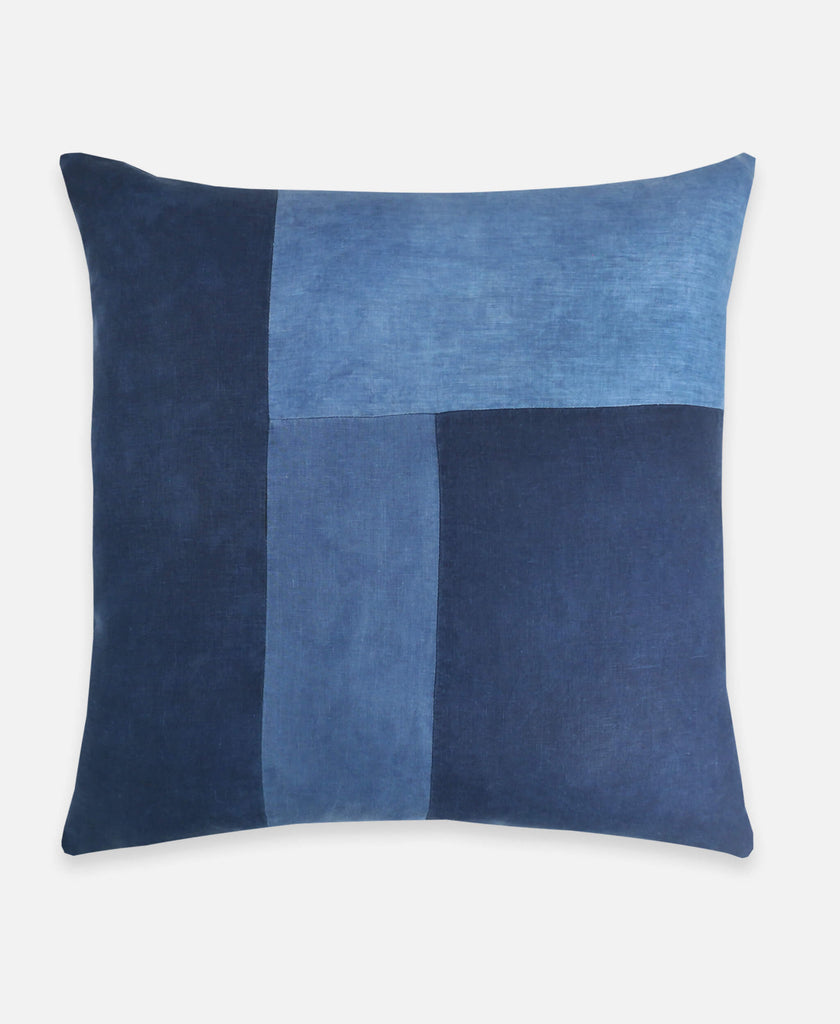 Anchal Project naturally dyed linen throw pillow in indigo blue