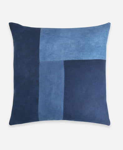 Naturally Dyed Color Block Toss Pillow | Indigo Blue | Anchal Project