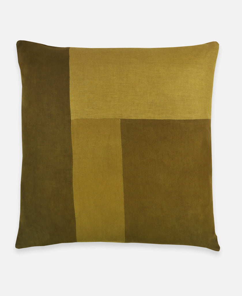 Anchal Project naturally dyed linen throw pillow in hunter green