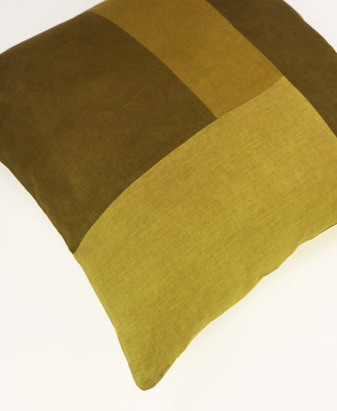 Naturally Dyed Color Block Toss Pillow | Green | Anchal Project