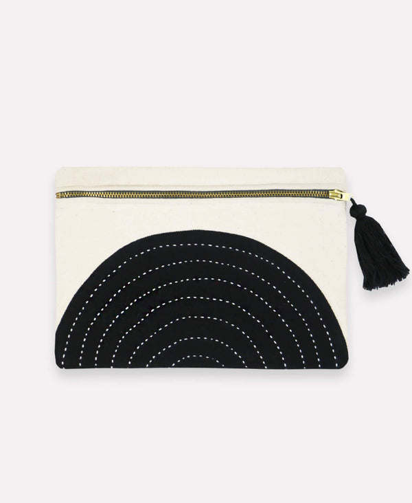 Monochromatic pouch clutch handmade by artisans in India