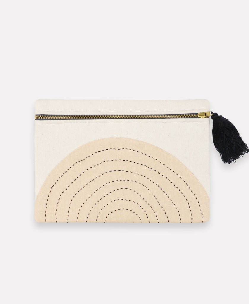 Modern organic-cotton pouch clutch with tonal hand-stitched design