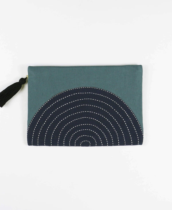 canvas pouch with tassel zipper pull in navy blue and spruce green