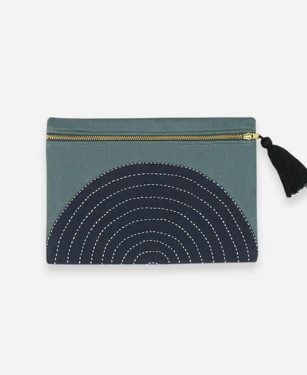 Anchal Project organic cotton canvas pouch with spruce green eclipse pattern