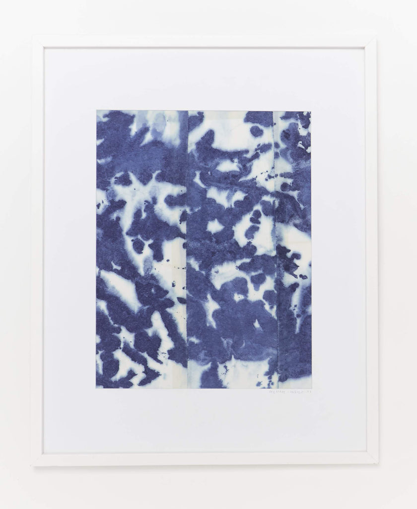 Extra large framed textile Dyecape art naturally dyed with indigo leaves creating using a dip dye technique creating a unique blue and white pattern