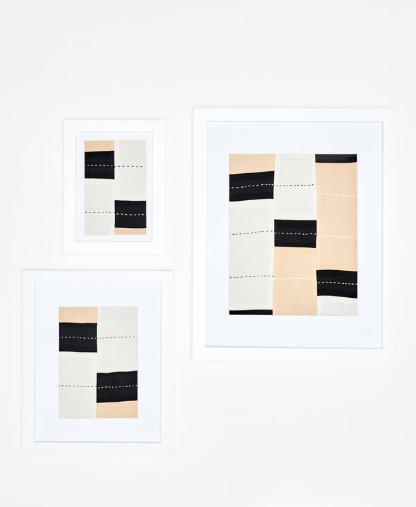 Stripe Patchwork Framed Textile Art