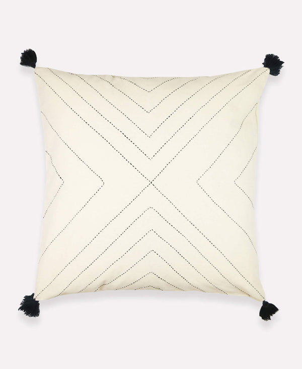 Anchal Project geometric tassel throw pillow in ivory