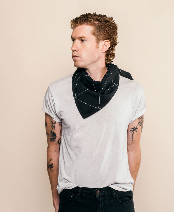 modern graphic bandana made from organic cotton with embroidered design