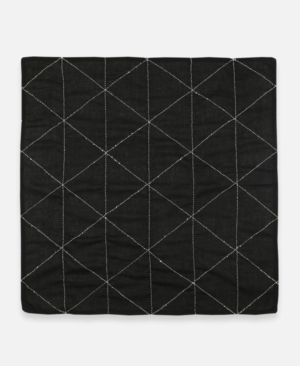geometric triangle embroidered bandana scarf in modern black