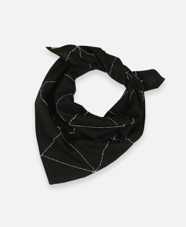Anchal Project organic cotton bandana scarf with hand-stitched geometric pattern in charcoal black