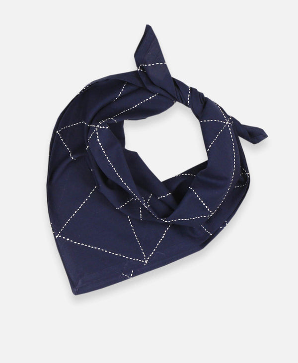 Anchal Project organic cotton bandana scarf with hand-stitched geometric pattern in navy blue