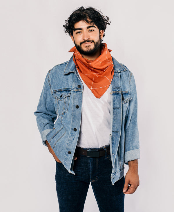 men's sustainable outfit featuring modern rust graph bandana by Anchal Project