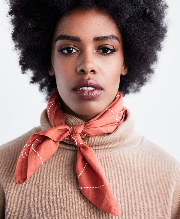 contemporary soft cotton neckerchief in rust orange