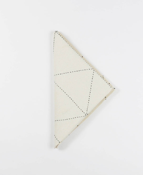 organic cotton cloth napkins with triangular geometric stitching