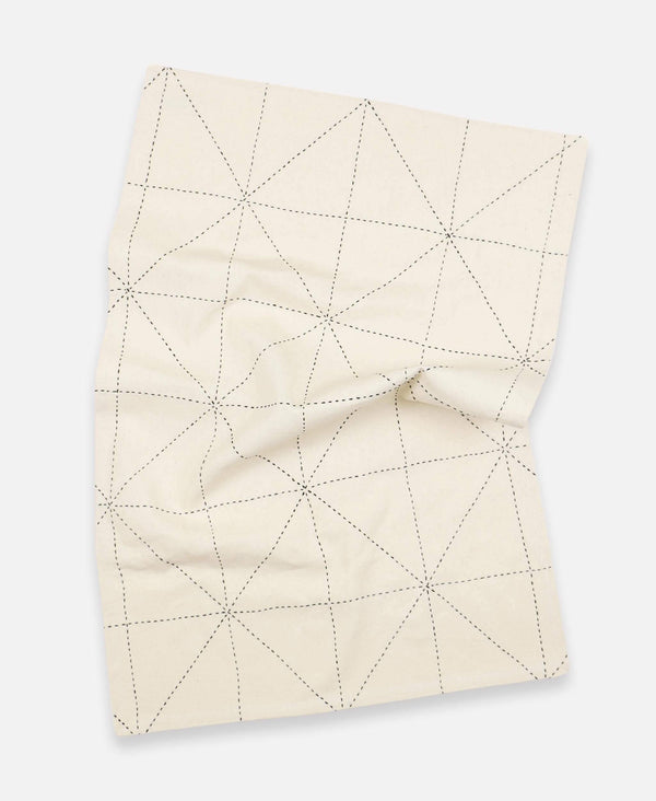 Anchal eco-friendly unbleached organic cotton tea towel with geometric hand-embroidery