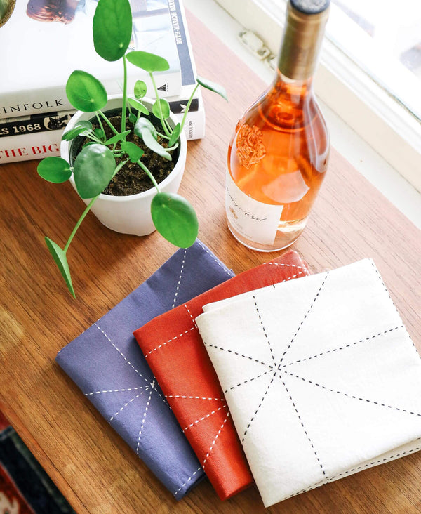 mid-century modern kitchen tea towels with geometric triangles