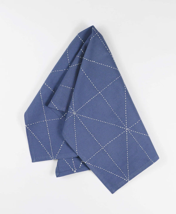 slate blue dish towel with geometric design made with kantha stitching