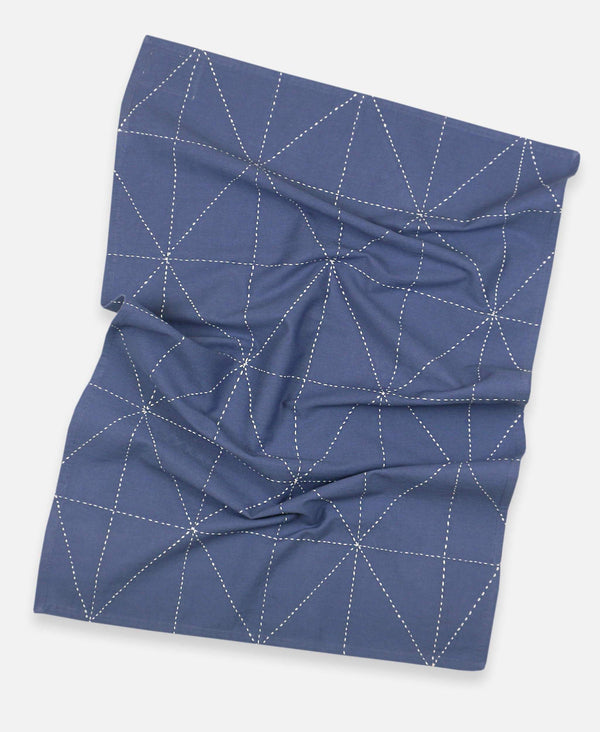 Anchal Project organic cotton geometric tea towel with hand-stitched graph design
