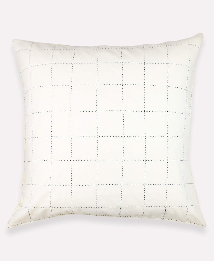 euro sham with large grid stitching that has been hand embroidered by an anchal artisan