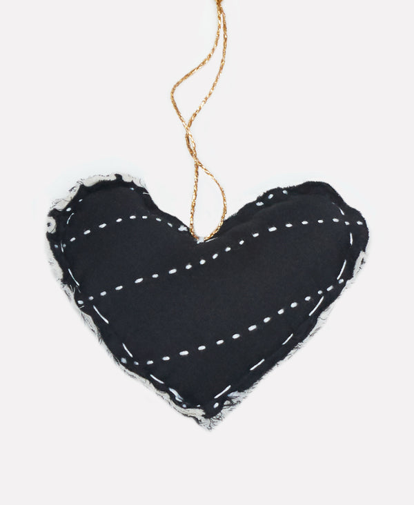 black handmade heart ornament with kantha stitching by Anchal Project