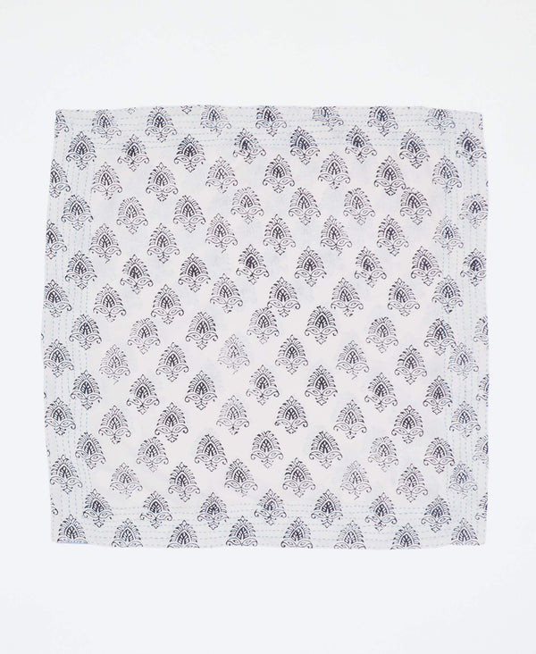 Fair trade white bandana with black detailing handstitched by Anchal artisans in Ajmer India