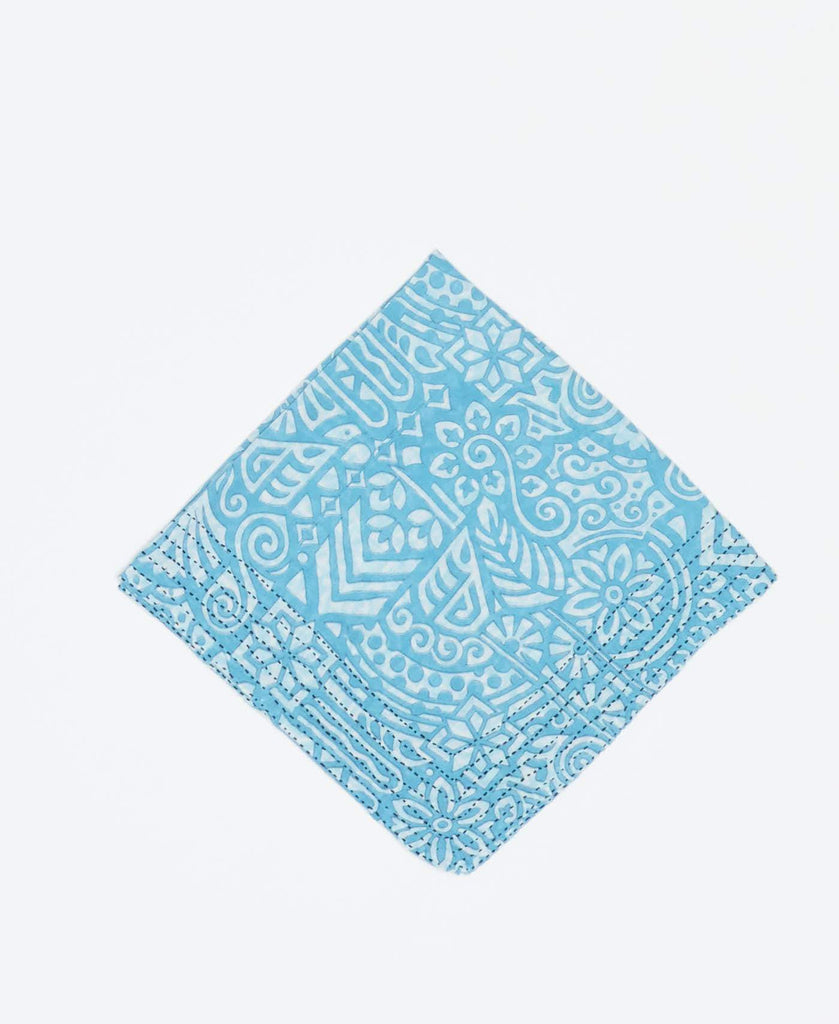Light blue vintage kantha bandana handmade by Anchal artisans with white geometric patters and black kantha stitching