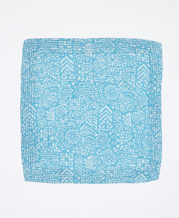 Fair trade light blue bandana with geometric designs handstitched by Anchal artisans in Ajmer India