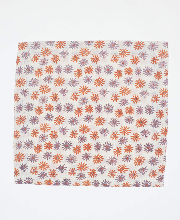 Fair trade white bandana with orange and purple designs handstitched by Anchal artisans in Ajmer India