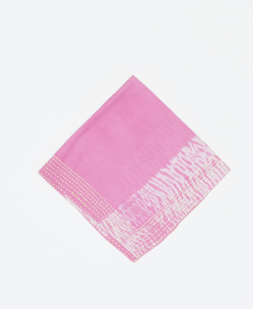 Light pink vintage kantha bandana handmade by Anchal artisans with white tie-dye prints and yellow kantha stitching