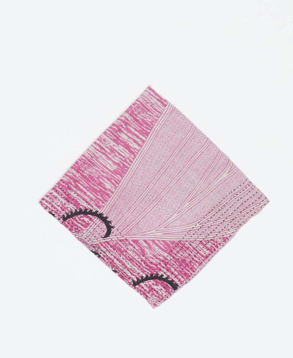 Pink and white vintage kantha bandana handmade by Anchal artisans with black detailing and black kantha stitching