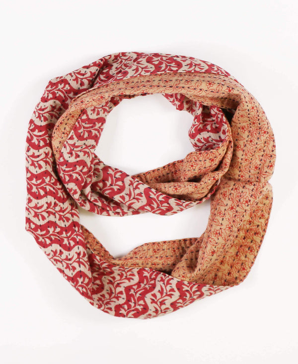 red floral cotton infinity scarf hand-stitched from vintage saris