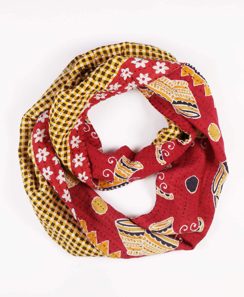 red novelty print vintage infinity scarf made by Anchal artisans