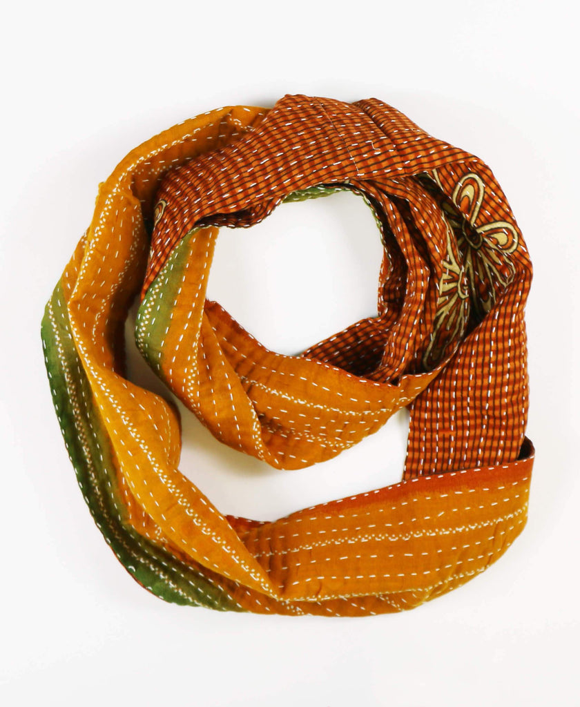 burnt orange striped circle scarf with reversible patterns