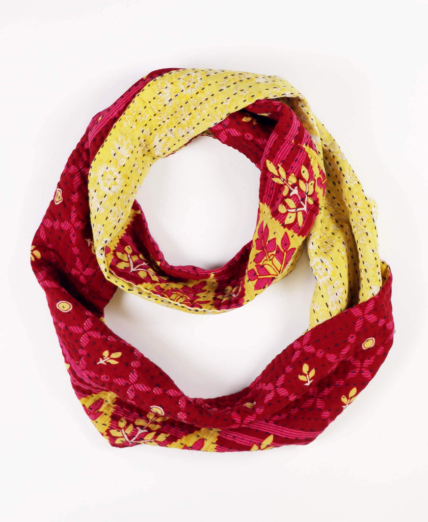 magenta reversible cotton infinity scarf made from vintage cotton saris