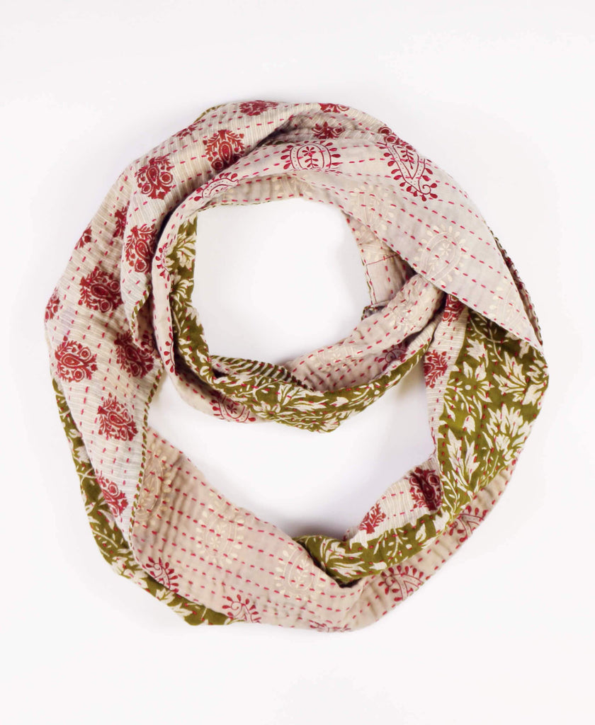 olive green and red reversible infinity scarf ethically made from vintage cotton saris