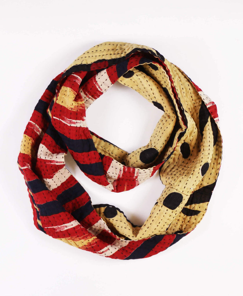 red and yellow geometric cotton circle scarf with kantha stitching